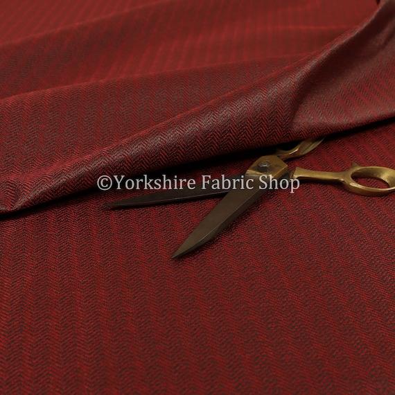 Herringbone Pattern Semi Plain Medium Weight Upholstery Fabric Dark Red Colour