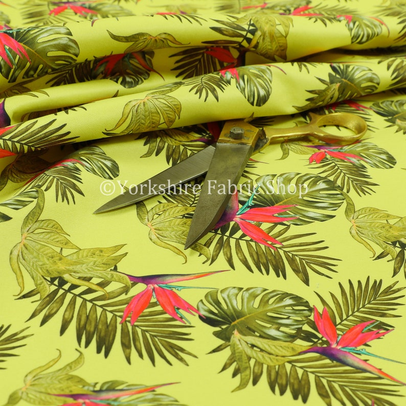 429eaed6c7 Yellow Pink Jungle All Floral Pattern Printed Velour Velvet | Etsy