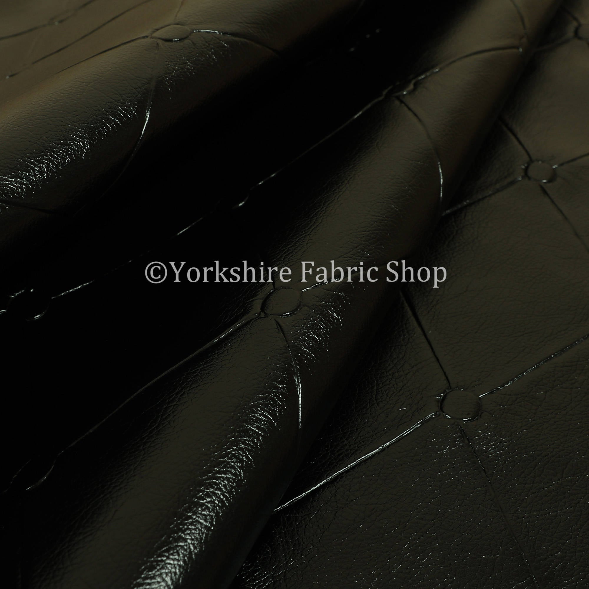 Chesterfield Design Gloss Black Faux Leather Upholstery Furniture Seating Fabric - Sold By The 10 Metre for sale