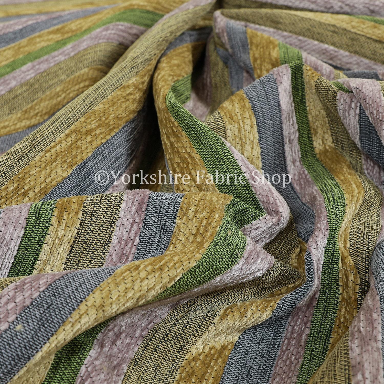 Nouvelle qualité Designer Chenille doux doux doux luxe motif rayé rideaux d'ameublement intérieur tissu lilas vert jaune - vendu par 10 mètres 909704