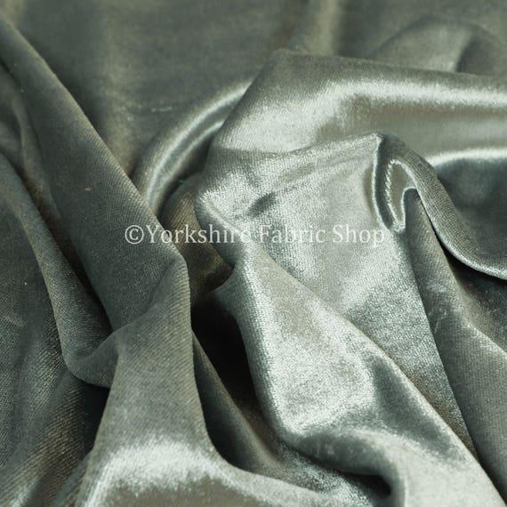 Luxury Shine Quality Plain Velvet Upholstery Curtain Fabrics In Grey Colour