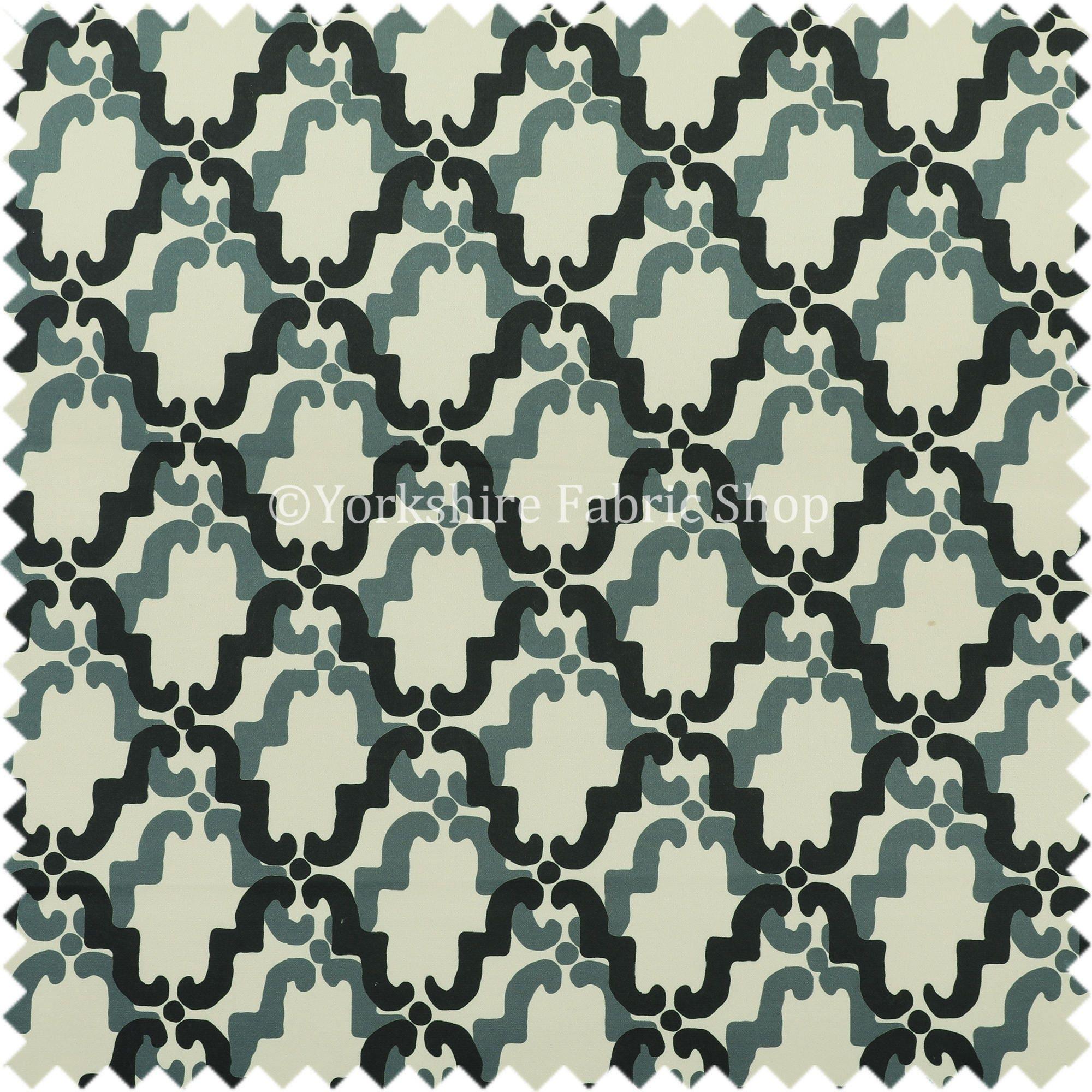 Velours imprimé moderne géométrique médaillon médaillon médaillon noir bleu motif tissu d'ameublement - vendu par le tissu de longueur de 10 mètres 074bb2