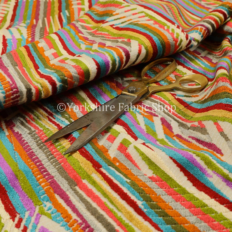 10 mètres de velours Jacquard Jacquard Jacquard tissé doux tissu lumineux colorés géométriques abstraites tissus pour canapés rideaux et ameublement 795dd2