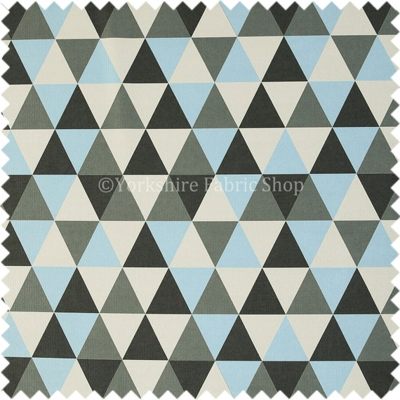 Geometric Triangle Pattern Quality Woven Jacquard Upholstery Fabric Blue Grey