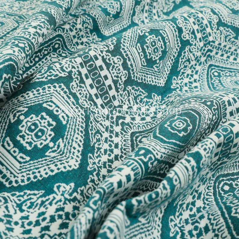 New Modern Quality Regency Medallion Pattern Teal Upholstery Furniture Fabric