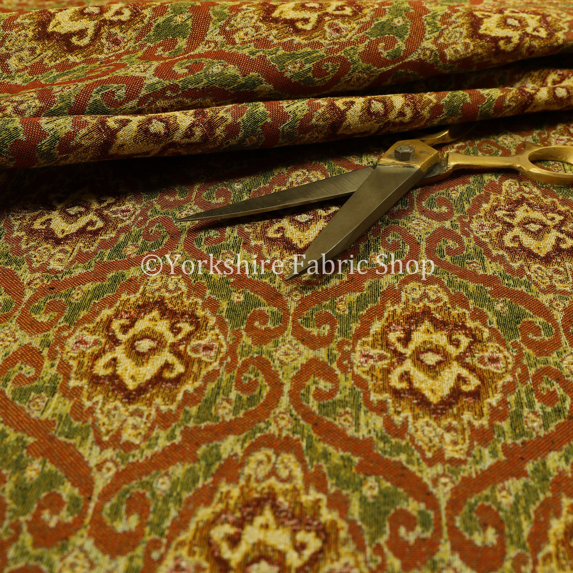 Nouveau vert Orange Orange Orange entier damassé Chenille tissus d'ameublement Jacquard - vendu par le tissu de longueur de 10 mètres 513707
