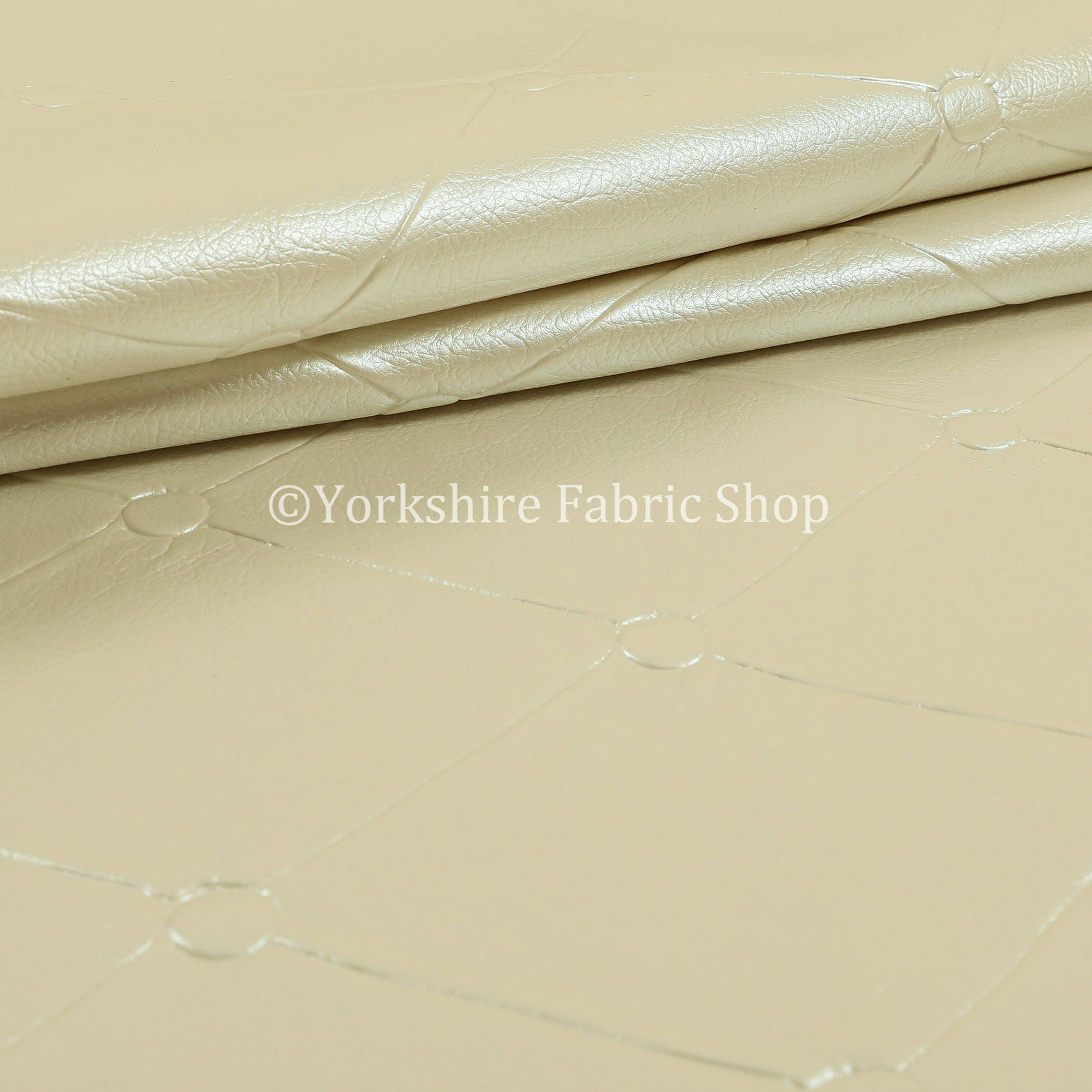 Chesterfield Design White Pearl Faux Leather Upholstery Furniture Seating Fabric - Sold By The 1 Metre, used for sale