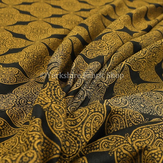 Lightweight Chenille Medallion Pattern Black Colour Upholstery Curtain Fabric