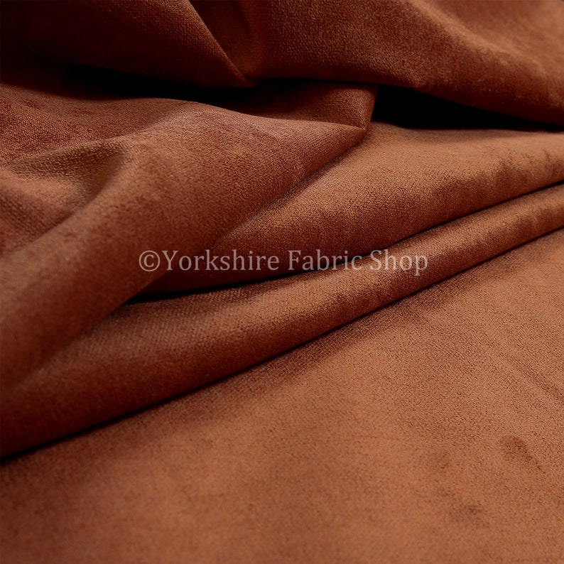 New Hardwearing Soft Velvet Textured Upholstery Fabric Flame Treated Fabric Perfect For Sofas Curtains Projects In Terra Burnt Orange Colour