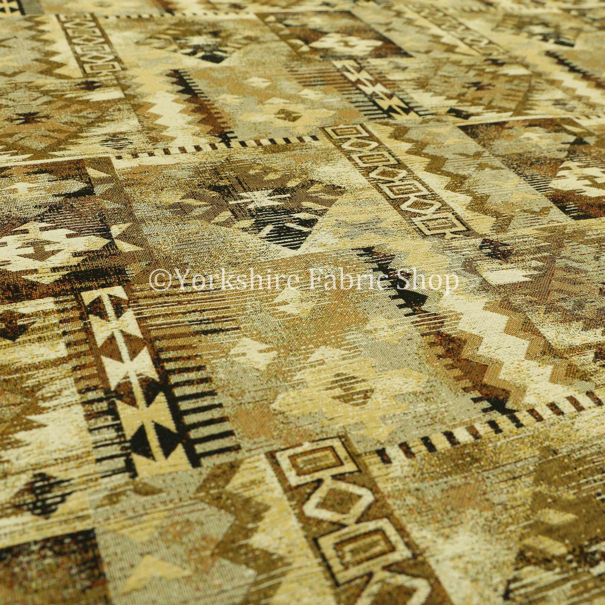 Tapisserie jacquard Kilim Patchwork aztèque motif Chenille Chenille Chenille Beige tissu d'ameublement - vendu par le tissu de longueur de 10 mètres 54c7a0