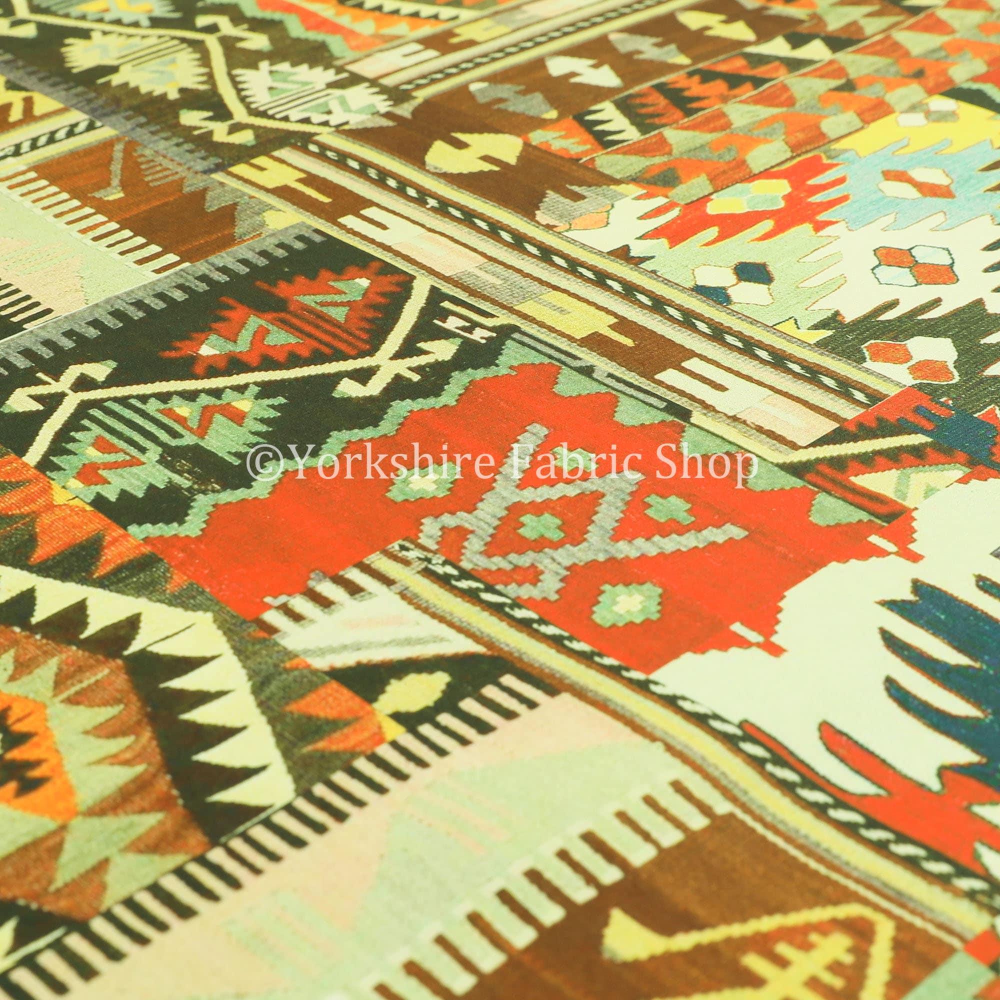 Patchwork Tribal orange motif velours velours imprimé Rideau tissus tissus tissus d'ameublement - vendus par le tissu de longueur de 10 mètres 064906