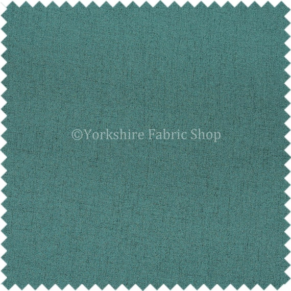 Plain Heritage Matt Soft Chenille Quality Upholstery Curtain Fabric In Teal Blue