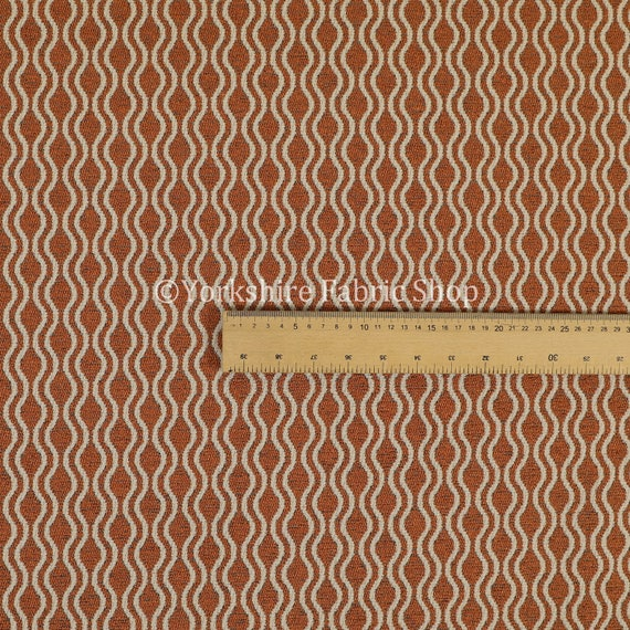 New Soft Quality Chenille Woven Modern Eclipse Pattern Orange Upholstery Fabric