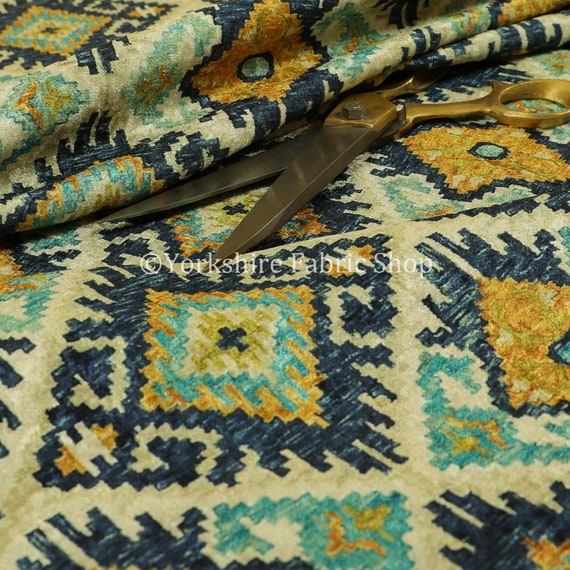 Lightweight Medallion Peacock Pattern Yellow Teal Upholstery Furnishing Fabric