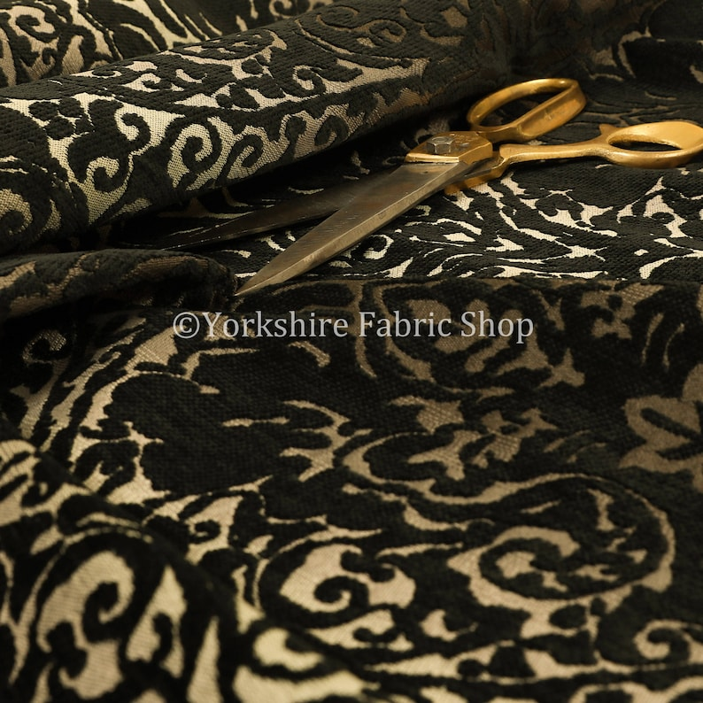 Luxurious Heavyweight Floral Soft Chenille Velvet In Black Upholstery Fabric Sold By The 1 Metre Length Fabric