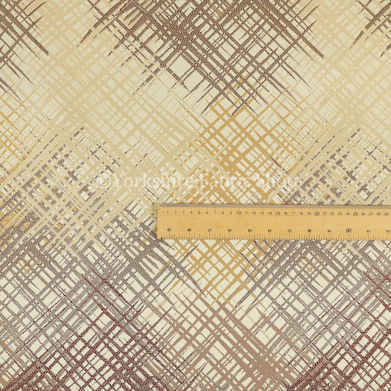 Sold By The 10 Metre Length Fabric New Lightweight Modern Abstract Pattern Cream Brown Chenille Upholstery Fabrics