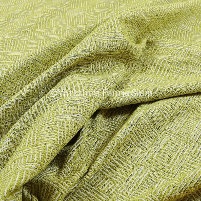 Sold By The 1 Metre Length Fabric New Soft Chenille Woven Modern Gingham Patchwork Green White Upholstery Fabric