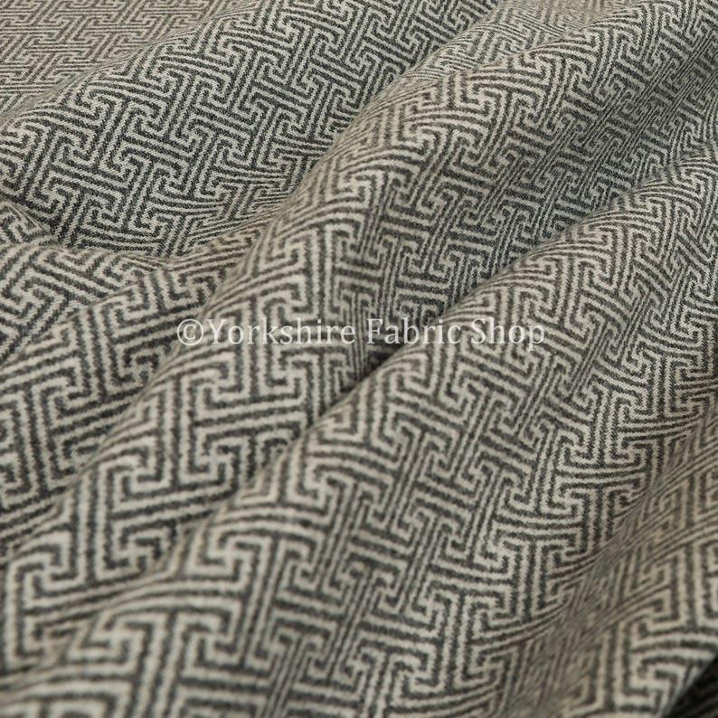 Soft Modern Geometric Pattern Wool Textured Grey Upholstery image 0