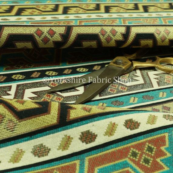 Burgundy Red Green Lightweight Curtain Fabric Traditional Kilim Stripe Pattern