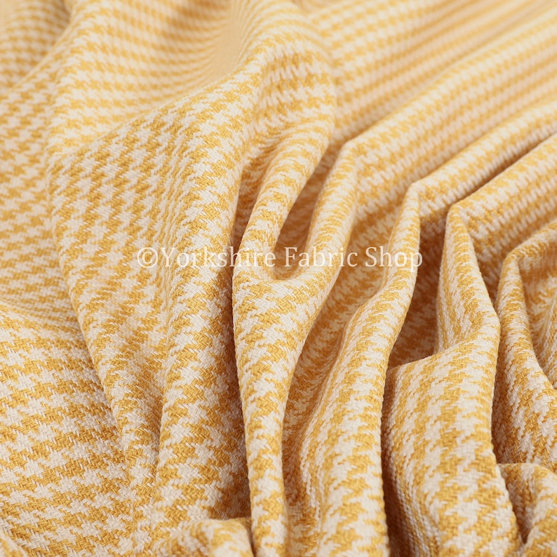New Quality Woven Hounds Dogs Tooth Pattern Yellow And White Upholstery Fabric Sold By The 1 Metre Length Fabric