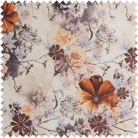 Quality Unique Round Floral Shiny Orange Pattern Upholstery Furnishing Fabric