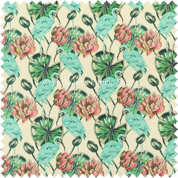 Blue Heron Wetland Bird With Pink Flower Print Velour Velvet Upholstery Fabrics