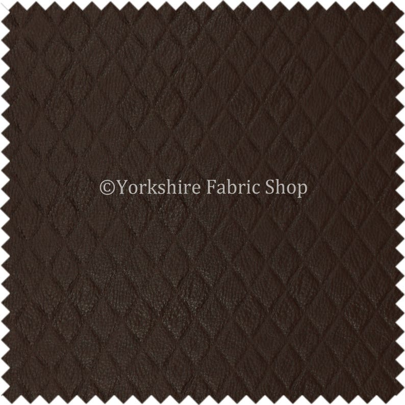 Sold By The 10 Metre Diamond Quilted Textured Soft Vinyl Faux Leather Upholstery Fabric Brown Colour