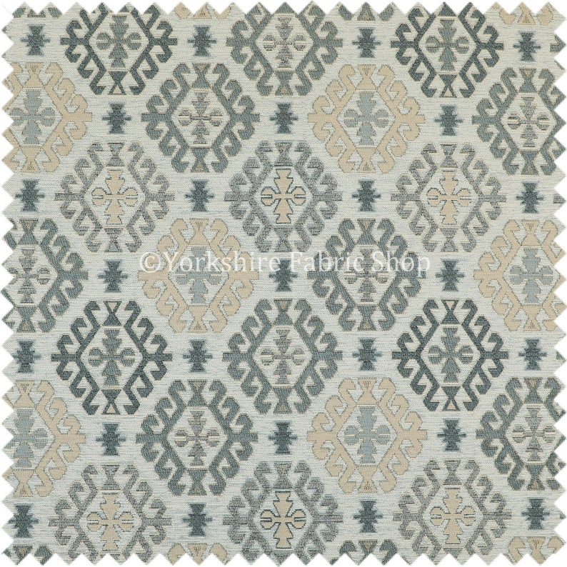 Aztec Traditional Medallion Kilim Pattern Grey Beige Chenille Upholstery Fabric Sold By The Metre Fabrics
