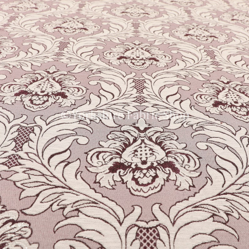 Modern Damask Pattern Silver Shine Effect Purple Upholstery Furnishing Fabric Sold By The 1 Metre Length Fabric