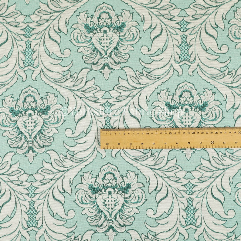 Sold By The 1 Metre Length Fabric Modern Damask Pattern Silver Shine Effect Teal Blue Upholstery Furnishing Fabric
