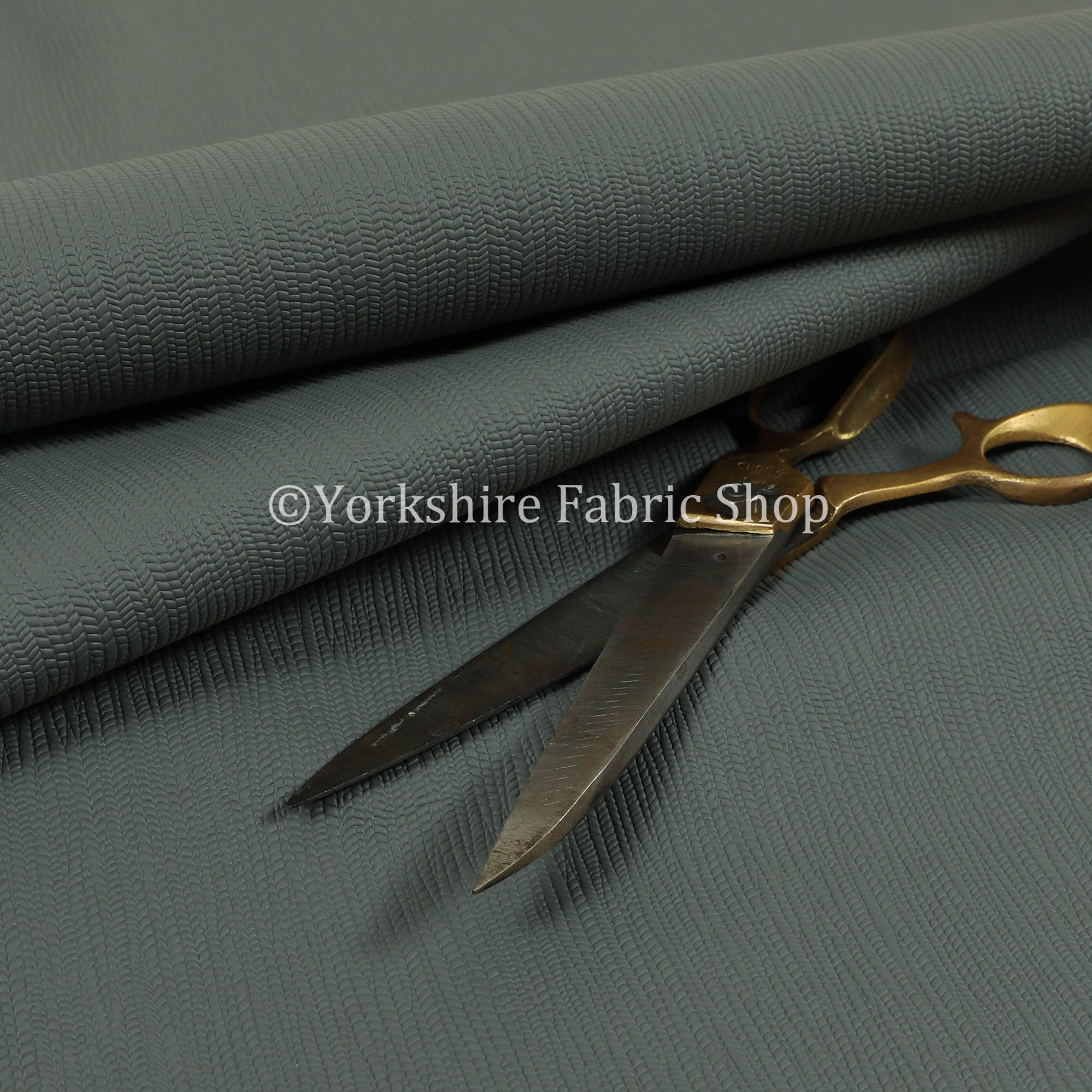 Faux Leather Shiny Designer Textured Pattern In Silver Colour Upholstery Fabric