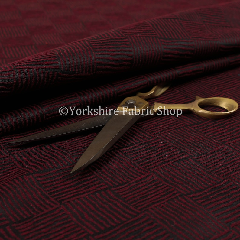 New Burgundy Colour Small Striped Vertical Horizontal Pattern Upholstery Fabric