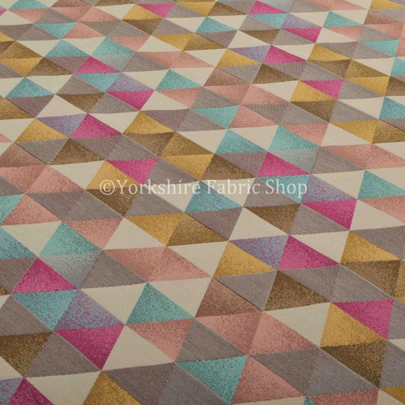 10 Metres Of Soft Woven Jacquard Chenille Upholstery Fabric Geometric Diamond Triangle Teal Pink Gold For Sofas Soft Furnishings Curtains
