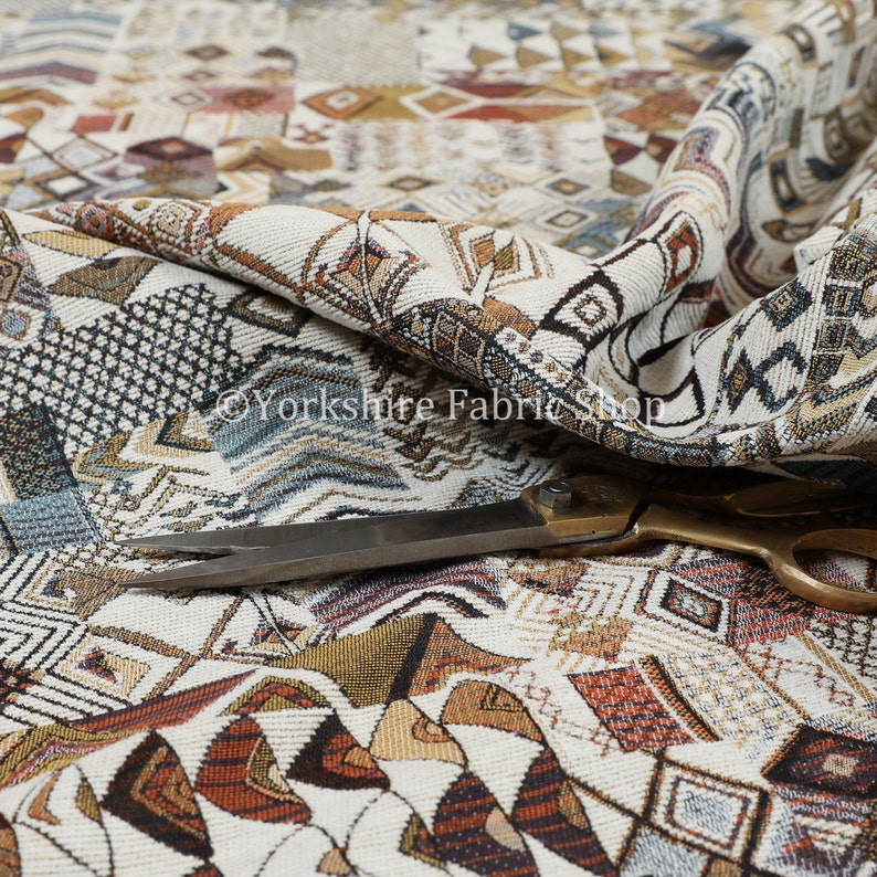 Sold By The Metre Fabric Multicolour Designer African Tribal Inspired Patchwork Small Motif Pattern Upholstery Fabric