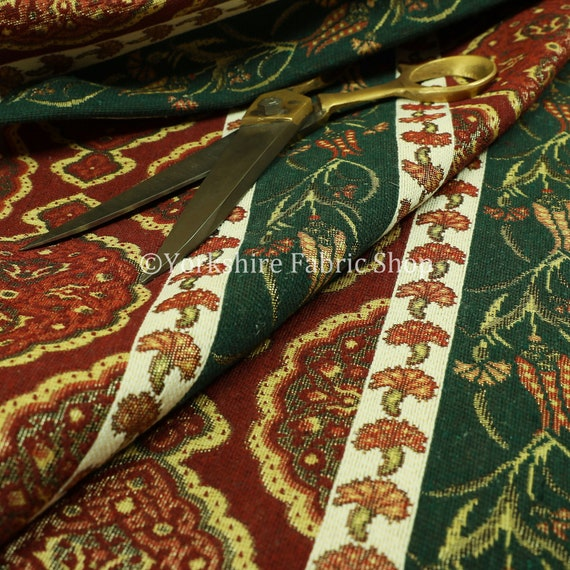 Green Red Burgundy Chenille Upholstery Curtain Fabric New Floral Damask Pattern