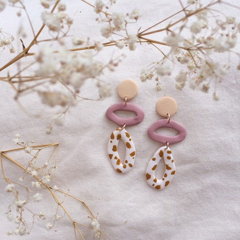 fdf8bb8a83165 Sand, Rose and Lemon Dalmatian Triple Tier / Patterned Abstract Earrings /  Polymer Clay Statement Earrings