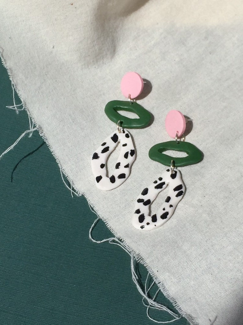 4366e66f17f89 Pink, Green and Dalmatian Triple Tier / Abstract Pattern / Polymer Clay  Statement Earrings