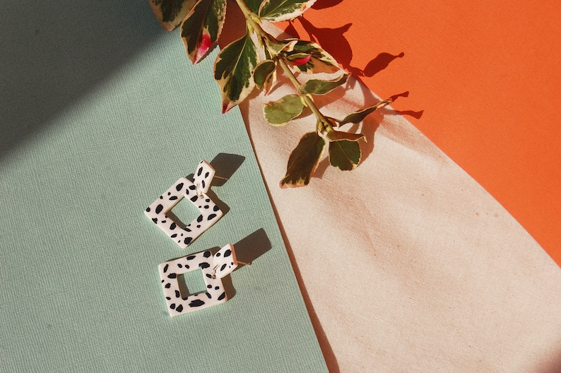 e4291b8c6c6d3 Spotty Dog Square / Dalmatian Squares / Hand Painted Statement Polymer Clay  Earrings