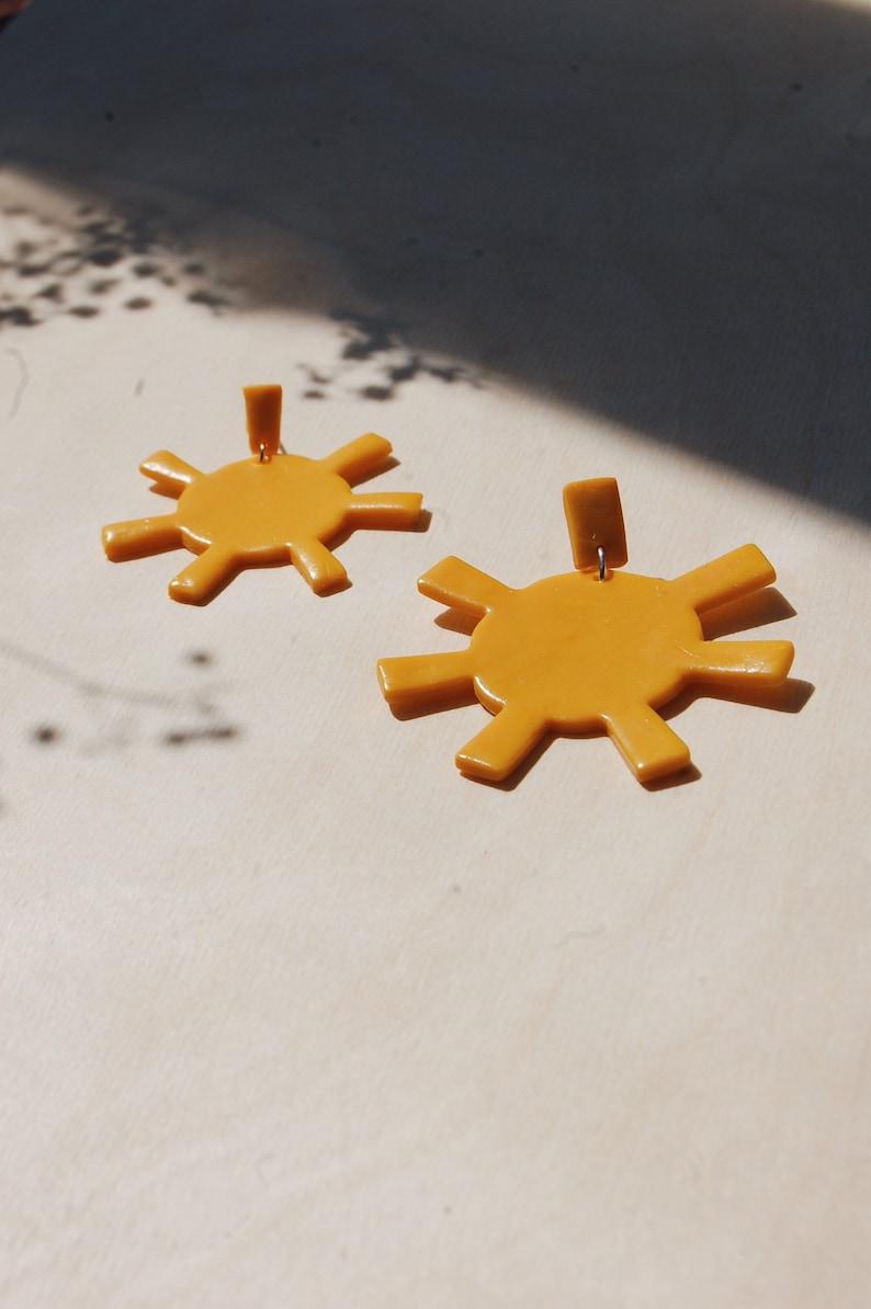 Large Suns  Statement Sun Earrings  Sunbeam Earrings  Polymer Clay Earrings  Sunshine Yellow  Statement Earrings