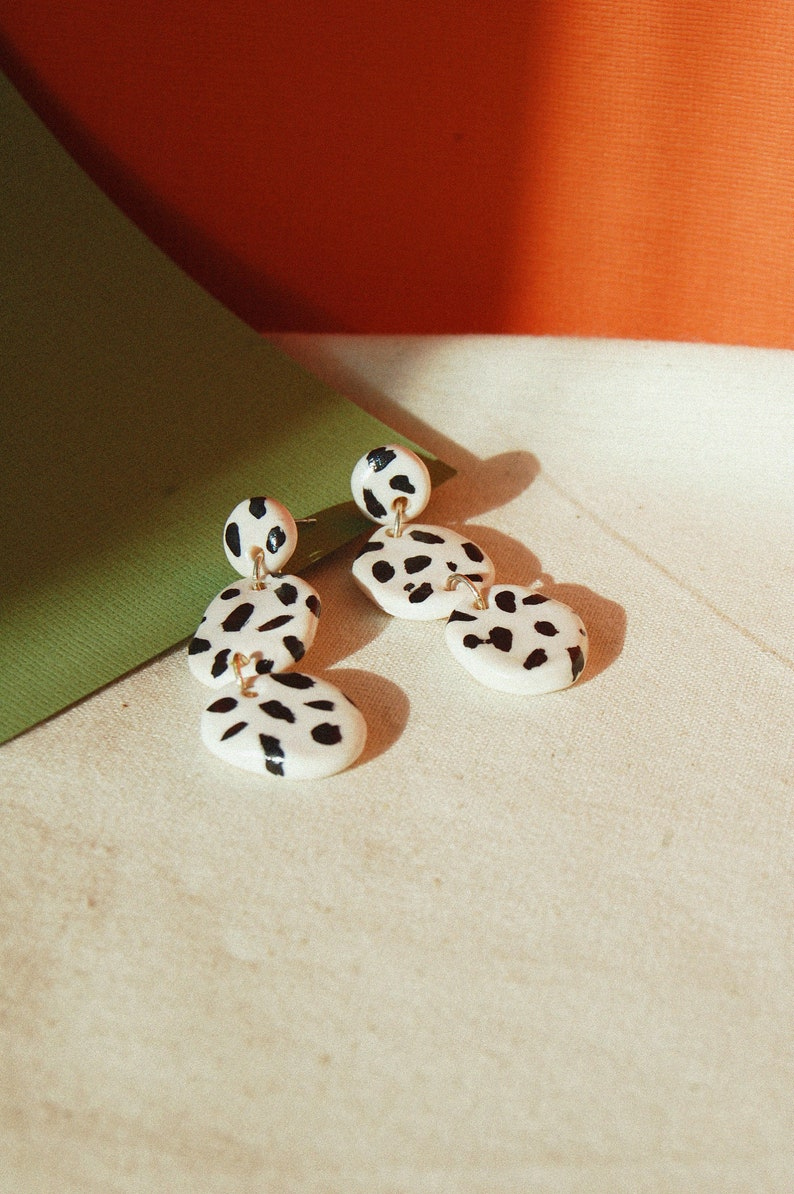 86652a83c156d Spotty Dog Pebbles / Abstract Dalmatian Earrings / Hand Painted Polymer  Clay Statement Earrings