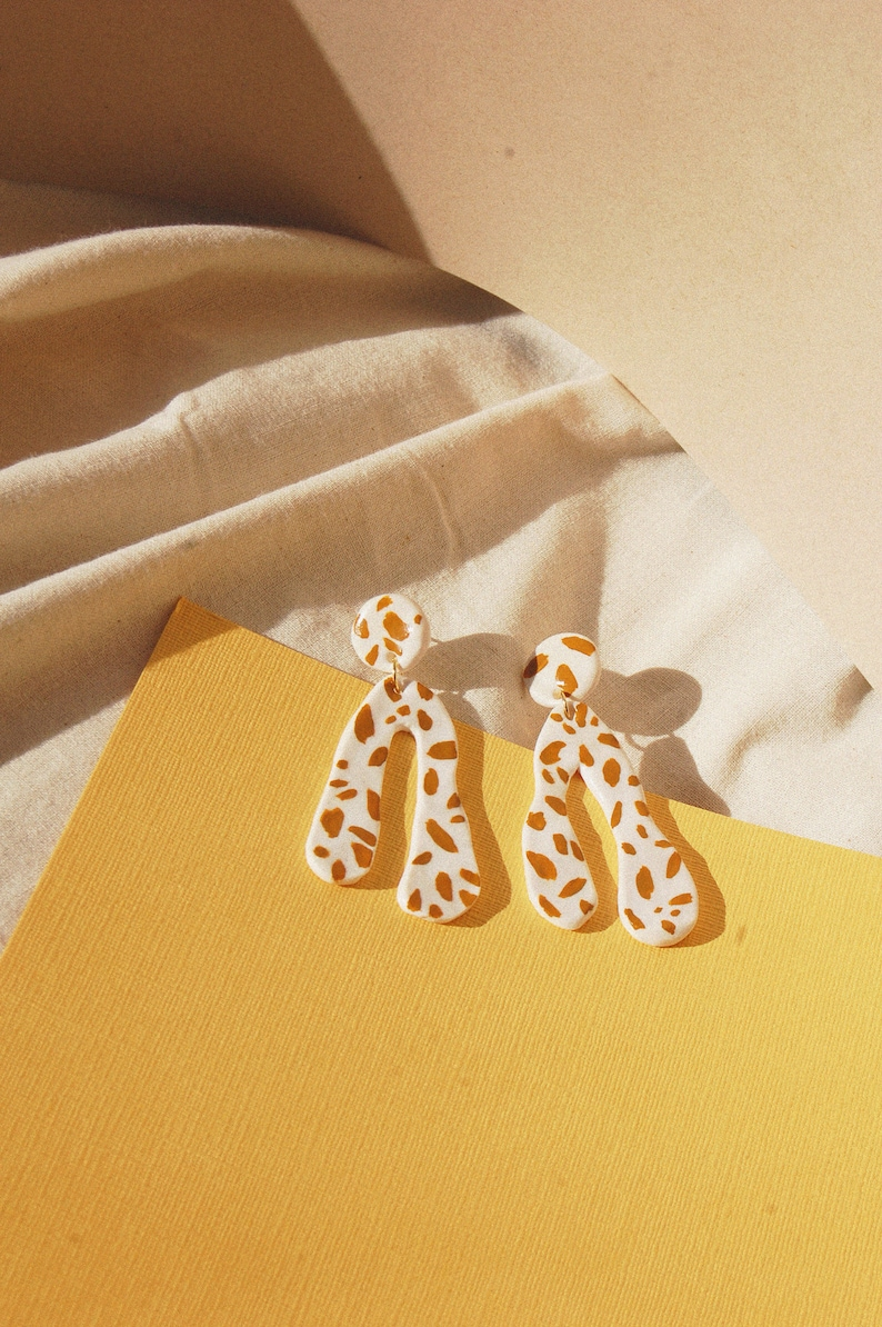 a070debad5fa6 Lemon Spotty Dog Long Arch / Yellow Dalmatian Print Abstract Earrings /  Hand Painted Polymer Clay Statement Earrings