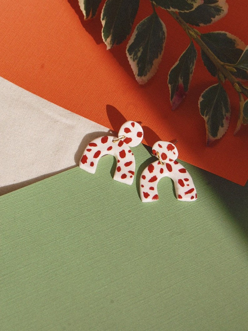 d237c8157190d Spotty Dog Arch/ Abstract Brown Dalmatian Arches / Polymer Clay Earrings /  Statement Earrings / Dalmatian Pattern