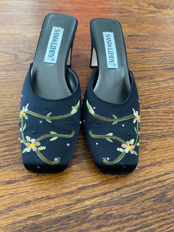 Embroidered Mules; Vintage Block Heel Mules; 1990… - image 1