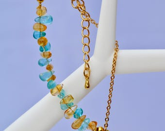 neon apatite and citrine bracelet, gold-plated  bracelet