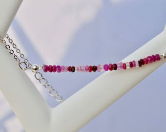 Silver and Ruby beads bracelet