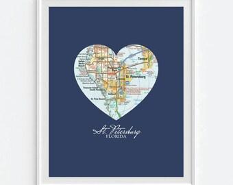 St Pete Florida Map.St Pete Florida Map Etsy