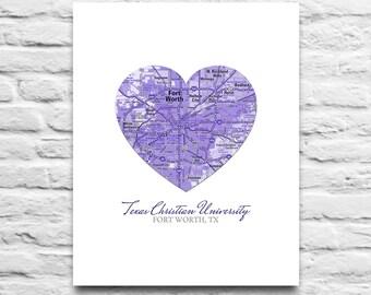 TCU Texas Christian University Horned Frogs - Fort Worth Texas - Vintage Heart Map Art Print DIGITAL DOWNLOAD diy printable, 8x10 11x14