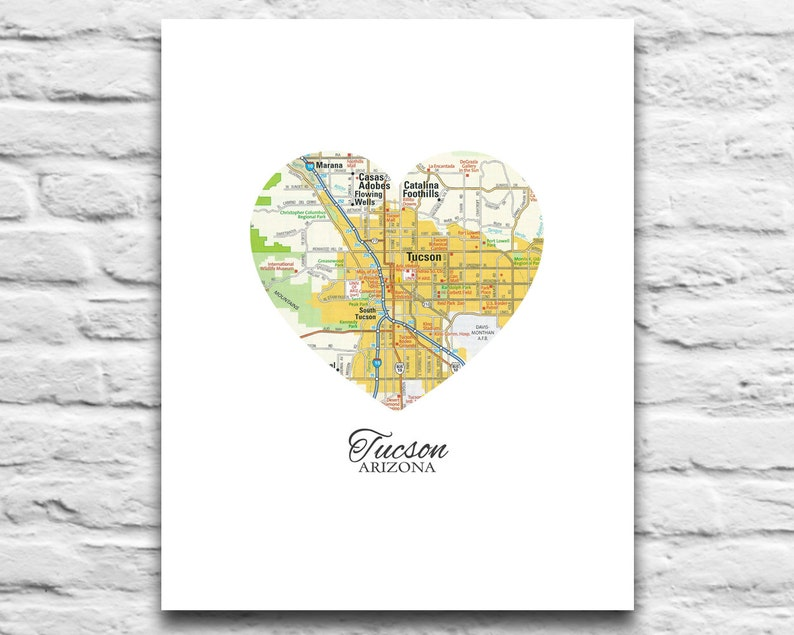 Tucson Arizona Love map print Vintage Heart Map DIGITAL DOWNLOAD for you 2  Print Wildcats university art diy printable gift,8x10 11x14