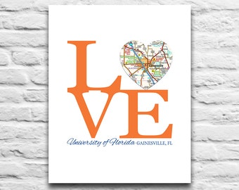 University of Florida Gators Gainesville Florida Vintage Heart Map Art Print DIGITAL DOWNLOAD diy printable, 8x10 11x14
