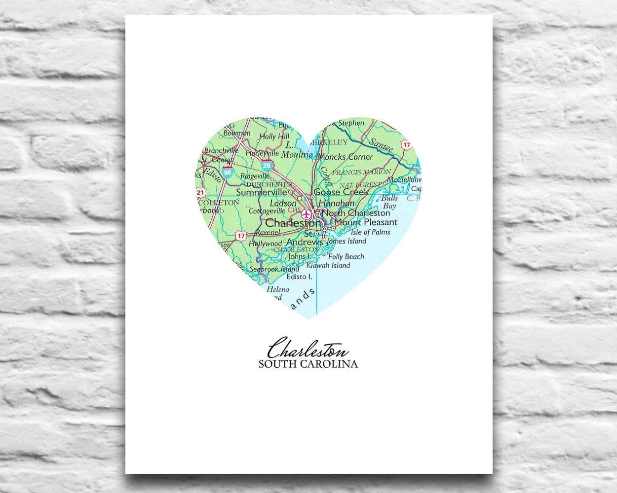 Charleston South Carolina Heart Map DIGITAL DOWNLOAD for you 2 Print City  town home state travel retro diy printable gift, 8x10 11x14